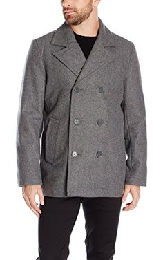 Tommy Hilfiger Men's Wool Melton Classic Double Breasted Peacoat, Light Grey, M ❤ Tommy Hilfiger Men's Outerwear