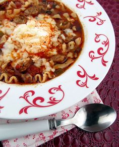 Made this Sausage Lasagna Soup for dinner and it was so good. I left the comfort of a soup and the cheesy combination of lasagna and sausage! Everybody loved the Lasagna soup. I will definitely make this again!