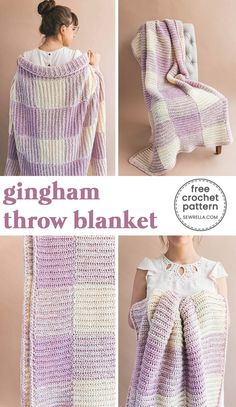 Crochet Blanket Patterns This throw blanket is super cozy and warm to snuggle up with this time of year! This makes for a great gift too! Click this pin for more free, pretty crochet blanket patterns. Crochet Home, Crochet Gifts, Crochet Yarn, Crochet Stitches, Free Crochet, Crochet Ripple, Crochet Flowers, Easy Crochet, Crochet For Beginners Blanket