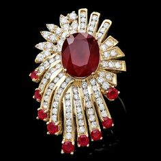 14k Yellow Gold 10ct Ruby 3.70ct Diamond Ring Red Jewelry, Fine Jewelry, Jewelry Box, Ruby And Diamond Necklace, Diamond Ring Settings, Jewelry Patterns, Jewelry Design, Ruby Rings, Color Fashion