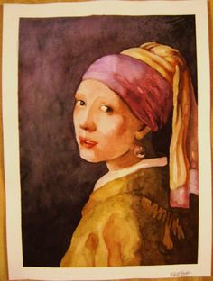 Watercolor I did for a college class. The Girl with Pearl Earring