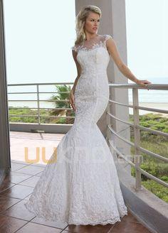 havfrue kjæreste feie tog blonder tyll brudekjole - UUknot.com