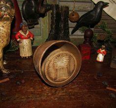 Primitive Antique Vtg Dealer Wood Wheat Butter Press Stamp Mold #NaivePrimitive
