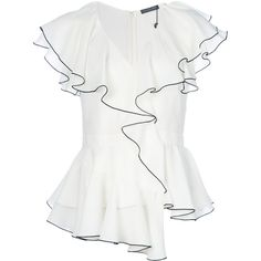 Alexander McQueen ruffled blouse (€1.040) ❤ liked on Polyvore featuring tops, blouses, white, ruffle blouse, v neck blouse, white blouse, white frilly blouse and v neck silk blouse