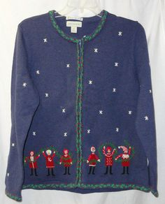 APPLESEEDS Blue M Holiday Limited Edition Christmas Sweater Full Zip Cardigan #Appleseeds #FullZip