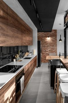Amazing Luxury Kitchen Ideas - Expolore the best and the special ideas about Modern home design Modern Kitchen Interiors, Wood Interiors, Interior Modern, Home Decor Kitchen, Interior Design Kitchen, Kitchen Ideas, Kitchen Inspiration, Kitchen Modern, Loft Kitchen