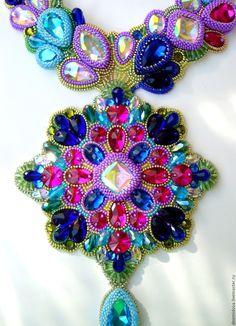 """Купить Колье """"Калейдоскоп"""" - разноцветный, необычное колье, колье с кристаллами, яркое украшение, чешские стразы"""