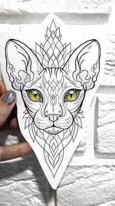 Tattoos And Body Art tattoo stencils Cat Eye Tattoos, Animal Tattoos, Love Tattoos, Body Art Tattoos, Sphynx Cat Tattoo, Script Tattoos, Arabic Tattoos, Dragon Tattoos, Ankle Tattoos
