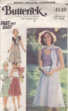 1970's Sewing Pattern  Butterick No 4149 Skirt by jennylouvintage