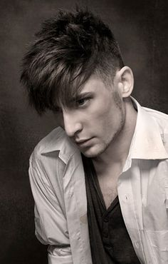 Dark brown, Shaved sides layered top, Dishevel medium hold from Redken for men styling collection, 2-3 weeks