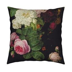 Gothic Floral Throw Pillow - Dark Floral Roses On Black by jenlats - Vintage Garden Roses Spring 18 : Gothic Floral Throw Pillow – Dark Floral Roses On Black Jumbo by – Vintage Garden Square Th Floral Throw Pillows, Decorative Pillows, Living Room Decor Inspiration, Black Pillows, Natural Texture, Basket Weaving, Throw Pillow Covers, Decoration, Boho