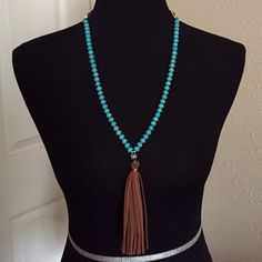 Turquoise Beads Tassel Necklace Faux matrix lined turquoise beads with faux suede tassel. Accented with silver color loops. Brand new retail. No box. No trades, no holding, no offline/App transactions.      PRICE IS FIRM UNLESS BUNDLED                  No offers entertained                   5% off bundles  Jewelry Necklaces