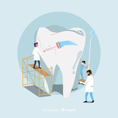 Dentists taking care of a tooth background Free Vector Dental Hygiene Student, Dental Clinic Logo, Dentist Art, Teeth Dentist, Dental Posters, Medical Posters, Dental Anatomy, Dental Life, Human Teeth