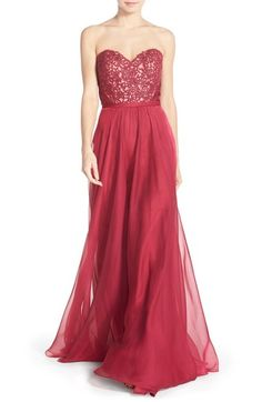 La Femme Embellished Lace & Chiffon Gown available at #Nordstrom