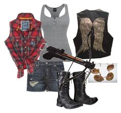 """Fem!Daryl Dixon cosplay"" by timey-wimey-consulting-hunter ❤ liked on Polyvore featuring rag & bone, Superdry and Mossimo"