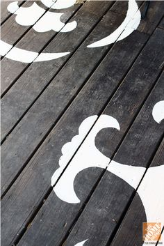 Patio tip: Use a stencil and exterior paint to give your deck or patio a boost of personality! Love the outdoor deco ideas. See DIY table. Pergola Swing, Deck With Pergola, Pergola Plans, Pergola Ideas, Porch Ideas, Yard Ideas, Outside Living, Outdoor Living, Outdoor Spaces