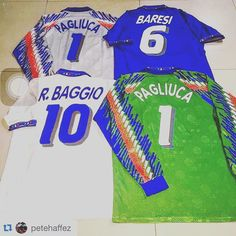 #Repost love these Italy kits from @petehaffez  Weekend routine  #italy #italia #azzurri #italianstyle #italianjersey #italianstallion #forzaitalia #jersey #jerseycollector #jerseycollective #jerseyboys #footballshirtcollective #classic #vintage #diadora #worldcup94 #pagliuca #baresi #baggio #footballshirtcollective