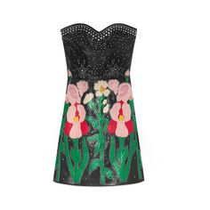 Gucci Leather Flower Intarsia Strapless Dress (177.169.245 VND) ❤ liked on Polyvore featuring dresses, side zip dress, leather fitted dress, gucci dress, strapless leather dress and fitted cocktail dresses