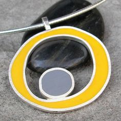 Yellow and Grey Resin and Sterling Silver Necklace by lsueszabo, $185.00