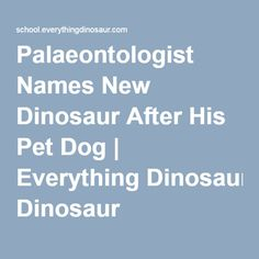 Palaeontologist Names New Dinosaur After His Pet Dog | Everything Dinosaur