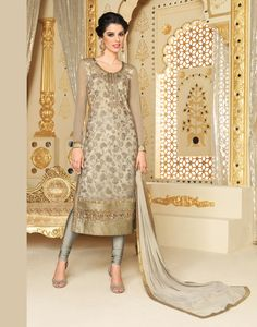Giselli Monteiro Beige Faux Georgette Churidar Suit 69955