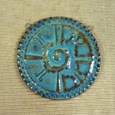 "Reversible 3"" ceramic clay pendant, Hunab Ku, made from my Mayan Mayhem Intaglio flexible rubber stamp mat. BHClaysmith"