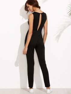 8ebf6a95419 Shop Black Sleeveless Keyhole Back Jumpsuit online. ROMWE offers Black  Sleeveless Keyhole Back Jumpsuit   more to fit your fashionable needs.