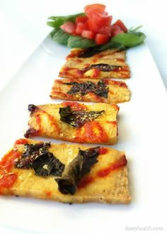 Spicy Basil Tofu Pizza Strips *This recipe is vegan, gluten free, low-carb, added B12, delicious and easy! http://www.damyhealth.com/2012/09/spicy-basil-tofu-pizza-strips/