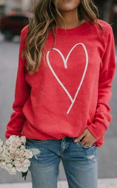 Heart Sweatshirt – Ily Couture day outfit for work Heart Sweatshirt Valentine Outfits For Women, Valentines Outfits, Valentines Day Shirts, Red Outfits For Women, Womens Valentine Shirts, Simple Outfits, Casual Outfits, Cute Outfits, Casual Shirts