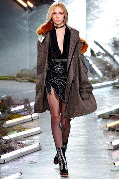 The fur collared coat wins the NY season. Rodarte - Fall 2015 Ready-to-Wear - Look 3 of 38