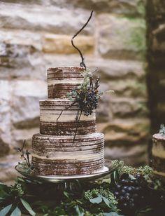 Semi Naked Winter Wedding Cake