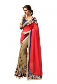 Excellent red and beige color  georgette & jacquard saree by madhu priya