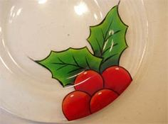 free images to paint on glass | Reverse glass painting of Holly Berries on glass plate. Free pattern!!
