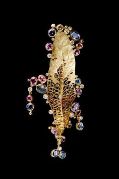 Anthony Lent - Fine Jewelry Leaf Brooch 18k Gold Purple, Blue, and Pink Sapphire Diamonds