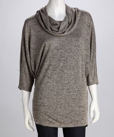 Only $15.99?!  Yes, please!  Take a look at this Washed Clay & Black Cowl Neck Top by By Design on #zulily today!