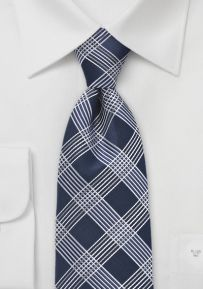 Navy and Silver Lined Necktie