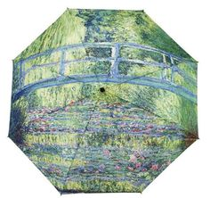 "This Monet Japanese Bridge folding umbrella is functional and fashionable. Super Mini Umbrella. Auto Open/Close. 100% Pongee Cover. Size: 48.00"" arc."