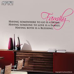Wall decals FAMILY IS A BLESSING Vinyl lettering quote interior decor by Decals Murals. $27.00, via Etsy.