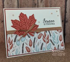 Scrapbooking, Scrapbook Cards, Card Making Inspiration, Making Ideas, Thanksgiving Cards, Holiday Cards, Terracotta Tile, Leaf Cards, Autumn Cards