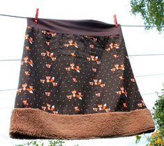Herbst Rock Füchse Cord braun Teddyplüsch Punkte skirt dots fox von Nostalgie Gretel häkelt und schenkt auf DaWanda.com