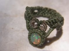 mexican opal macrame ring
