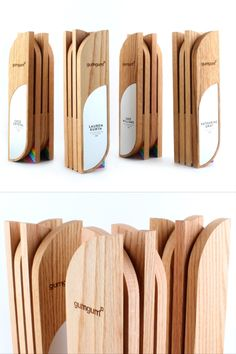 "These custom awards designed for GumGum feature a ""sandwich"" of maple wood stacked in opposite directions to give it a modern appeal. Finished off with an Aluminum front and some glossy accents! Trophy Plaques, Trophies And Medals, Custom Trophies, Gate Wall Design, Plaque Design, Stand Design, Love Design, St Hubert, Trophy Cup"