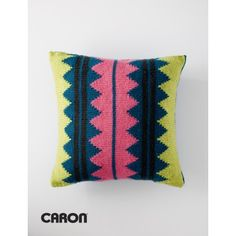 In Vivid Color Pillow | A quick, easy way to bring color into your home is with comfy, cozy decorative pillows! Crocheted in Caron Simply Soft | Caron | Home Dec| Pillow |