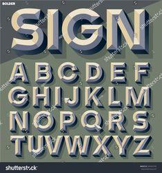 Vector illustration of old school simple bold beveled alphabet. Hand Lettering Art, Lettering Styles, Graffiti Lettering, Lettering Design, Typography Alphabet, Vintage Typography, Typography Fonts, Vintage Logos, Retro Logos