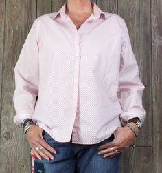 Nice Lands End size 18 Blouse Pink Black No Iron Supima Womens Career Casual top