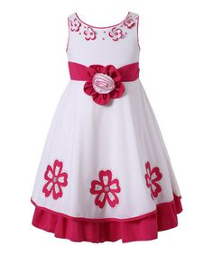 Another great find on #zulily! Fuchsia & White Floral Dress - Toddler & Girls #zulilyfinds