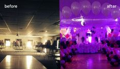 Turn a drab space in to a fantasy party! This birthday party only used 8 of our diy lights to transform a banquet hall in to a luxury space for a Sweet 16! #diyuplighting