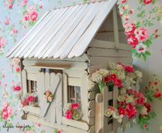 tinkered treasures: a treasured year - Fairy Lights Terrace Popsicle Stick Crafts House, Popsicle Sticks, Craft Stick Crafts, Craft Sticks, Bird Houses Diy, Fairy Garden Houses, Fairy Gardens, Painted Sticks, Fairy Doors