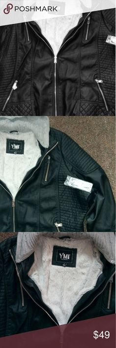 Ymi collection jacket 3x. Looks like a biker jacket. Faux fur inside four zipper pockets only 2i usable. Has a grey Hood that's you can unbutton and take off. Just bought it. Zips up the front has some cool pleading so it. look like the biker look. The shell is 100% polyurethane. Faux fur ending is a hundred percent polyester and hood is 100% acrylic. Wash instructions clean with damp sponge wife dry do not bleach do not iron and do not dry clean. Size 3x. With tags. YMI collection Jackets…