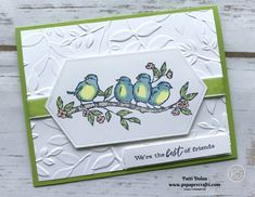Free As A Bird – Best Friends Card DIY Handmade card for my best friend featuring the Free As A Bird Bundle. This beautiful stamped image was colored with Stampin' Blends on Stitched Label Die adhered to a layer that… Continue Reading → Tarjetas Stampin Up, Stampin Up Karten, Best Friend Cards, Cards For Friends, Free Friends, Kirigami, Stampin Up Catalog, Friendship Cards, Stamping Up Cards